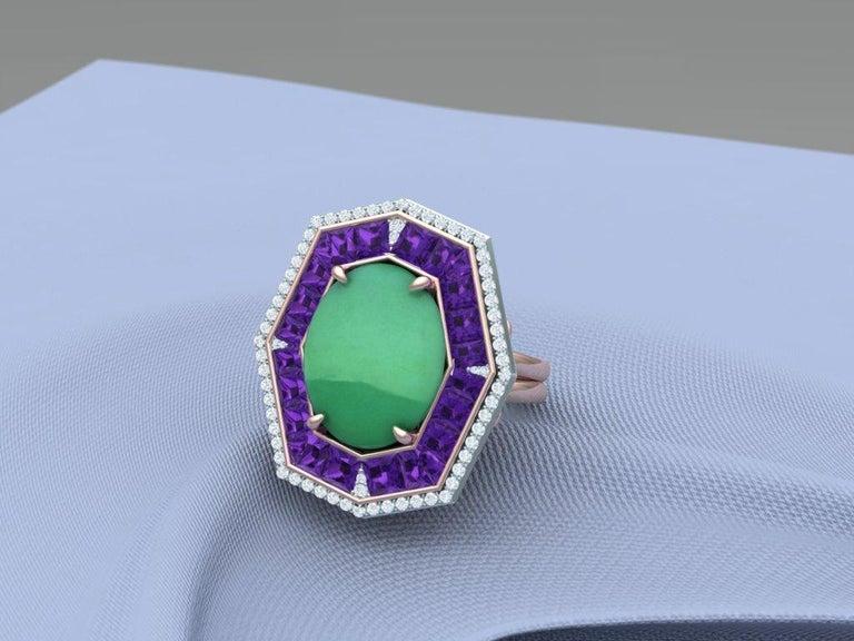 7 Carat GIA Certified Jadeite Purple Sapphire and Diamond Ring For Sale 4