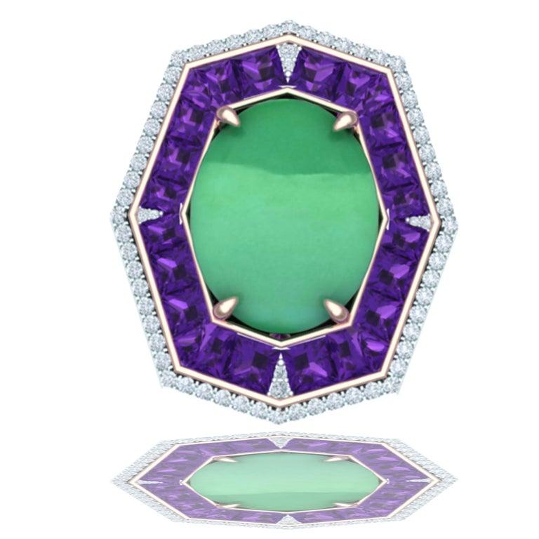 Modern 7 Carat GIA Certified Jadeite Purple Sapphire and Diamond Ring For Sale