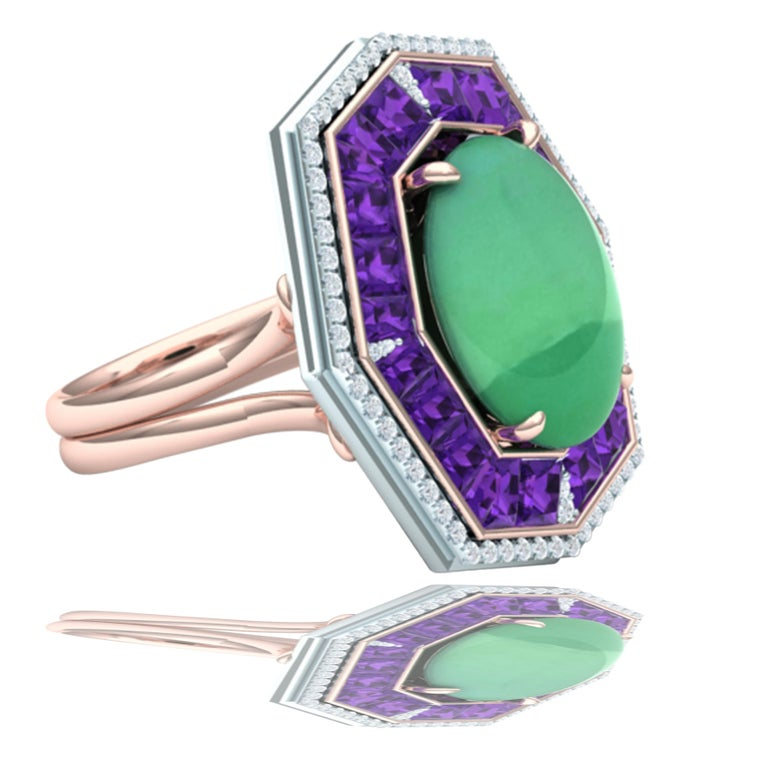 Cabochon 7 Carat GIA Certified Jadeite Purple Sapphire and Diamond Ring For Sale