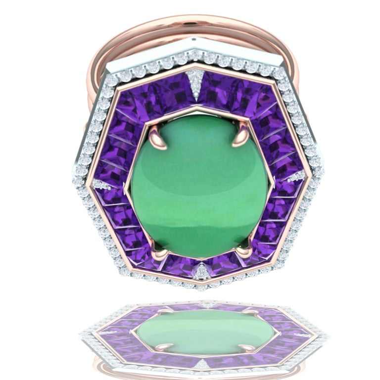 7 Carat GIA Certified Jadeite Purple Sapphire and Diamond Ring In Excellent Condition For Sale In Aliso Viejo, CA