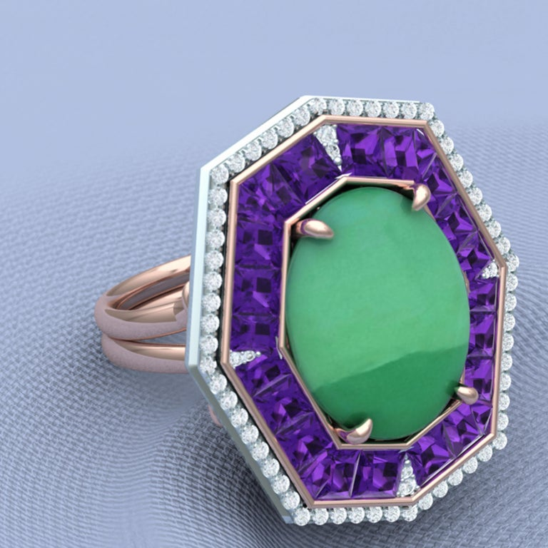 Women's or Men's 7 Carat GIA Certified Jadeite Purple Sapphire and Diamond Ring For Sale