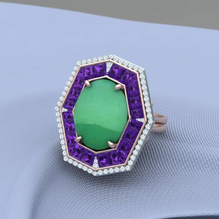 7 Carat GIA Certified Jadeite Purple Sapphire and Diamond Ring For Sale 1