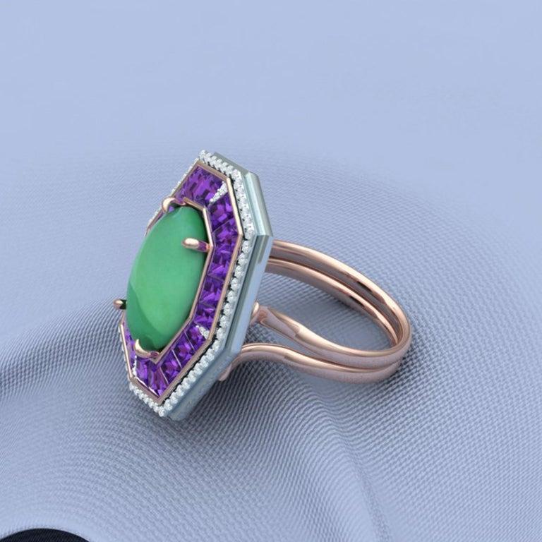 7 Carat GIA Certified Jadeite Purple Sapphire and Diamond Ring For Sale 2