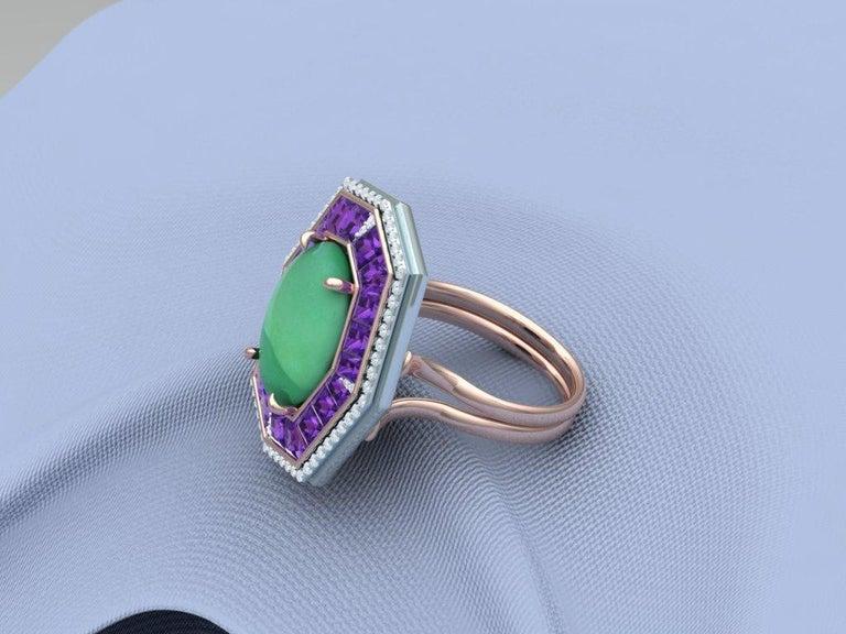 7 Carat GIA Certified Jadeite Purple Sapphire and Diamond Ring For Sale 3