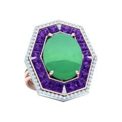 7 Carat GIA Certified Jadeite Purple Sapphire and Diamond Ring