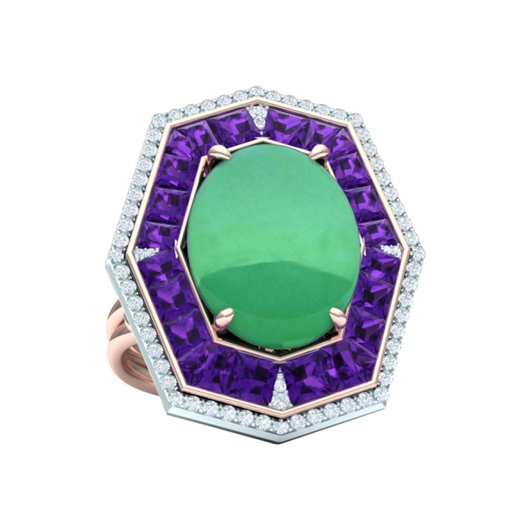 7 Carat GIA Certified Jadeite Purple Sapphire and Diamond Ring For Sale