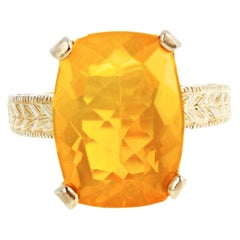 7 Carat Glitering Mexican Fire Opal Sterling Silver Ring