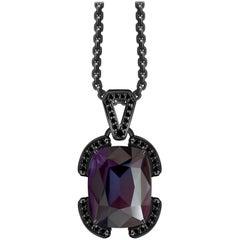 7 Carat Grey Violet Thunderstorm Spinel Black Diamonds 14 Karat Gold Pendant
