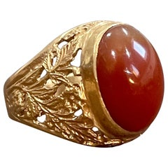 7 Carat Jasper Cabochon 18 Karat Yellow Gold Classic Wide Ring