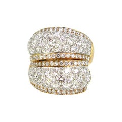 7 Carat Modern Pave Dome Diamonds Yellow Rose Gold Cocktail Ring