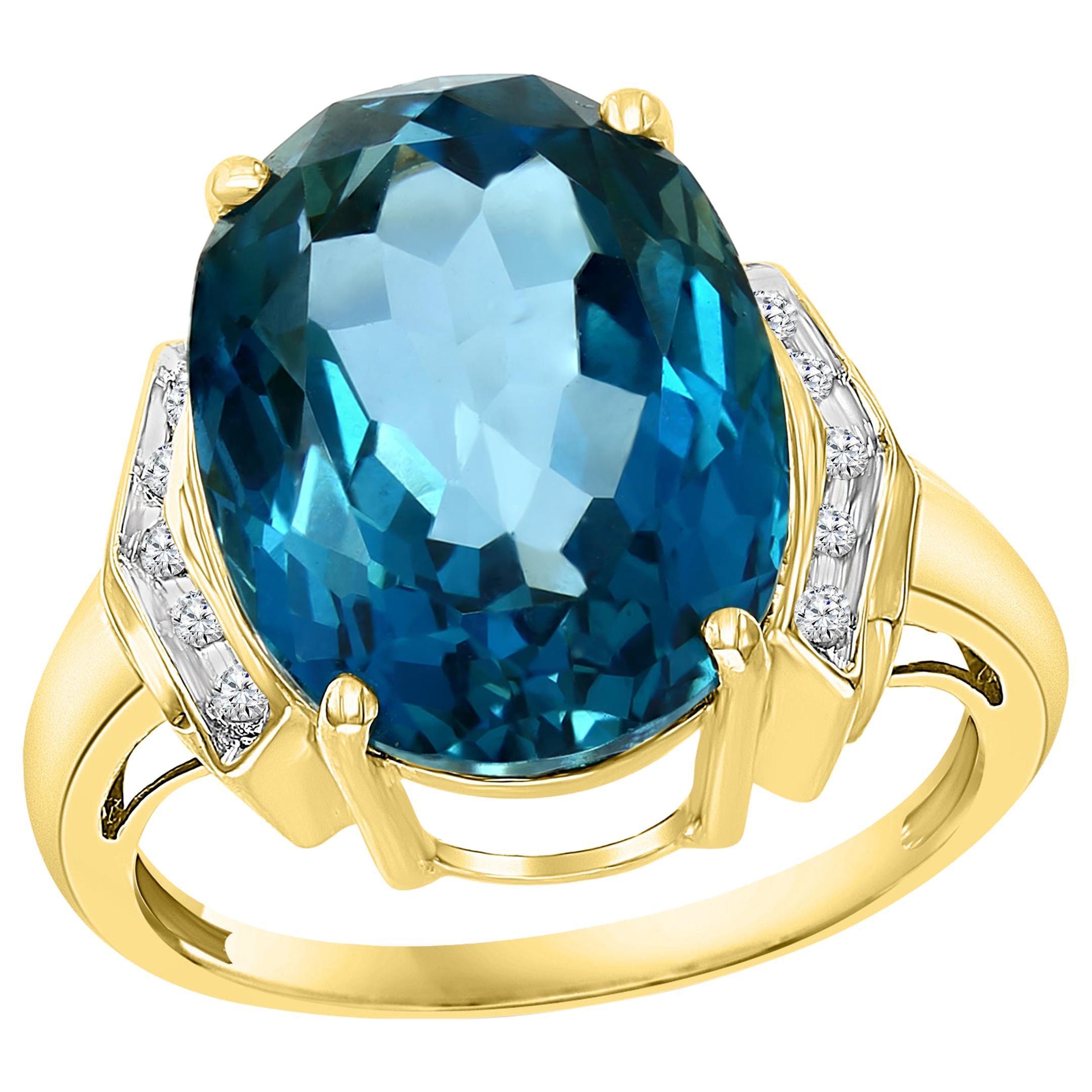 7 Carat Natural Blue Topaz and Diamond Cocktail Ring 14 Karat Yellow Gold Estate