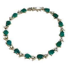 7 Carat Natural Brazil Emerald and Diamond Tennis Bracelet 14 Karat Yellow Gold