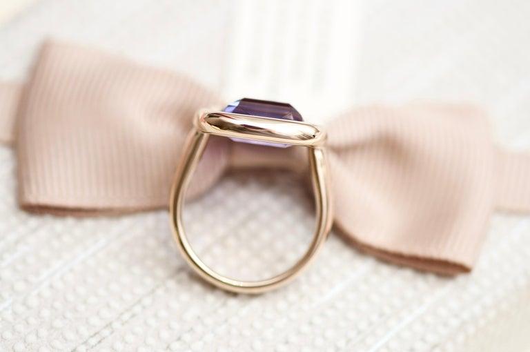 7 Carat Natural Brazilian Purple Amethyst 14 Karat Yellow Gold Ring For Sale 1