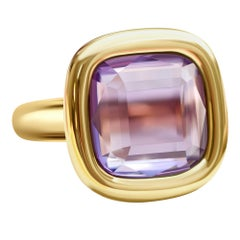 7 Carat Natural Brazilian Purple Amethyst 14 Karat Yellow Gold Ring