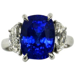 7 Carat Natural Sapphire Engagement Ring Diamond 1/2 Moon Accent 3-Stone Trinity