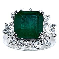 7 Carat Natural Square Emerald & 1.5 Ct Diamond Ring in Platinum