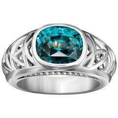 7 Carat Neon Blue Zircon Diamond 14 Karat White Gold Ring