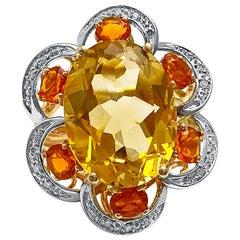 7 Carat Orangy Yellow Citrine and Diamond 14 Karat Yellow Gold Cocktail Ring