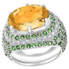 7 Carat Oval Citrine Tsavorite and Diamond Ring in 18 Karat White Gold, Estate
