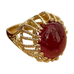 7 Carat Oval Cut Cabochon Pink Tourmaline 14 Karat Yellow Gold Ring