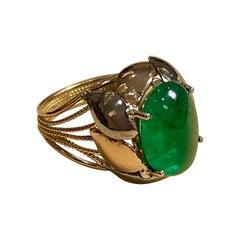 7 Carat Oval Emerald Cabochon 14 Karat Yellow Gold Cocktail Ring Vintage
