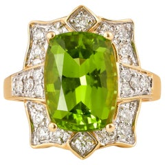 7 Carat Peridot and Diamond Ring in 18 Karat Yellow Gold