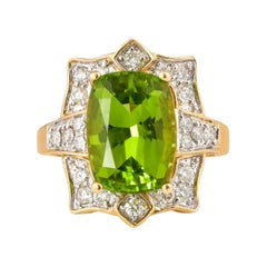 7 Carat Peridot and Diamond Ring in 18 Karat Yellow Gold