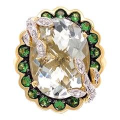 7 Carat Prasiolite, Tsavorites and Diamonds Gold Ring Estate Fine Jewelry