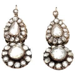 7 Carat Rose Cut Diamond Drop Earrings, circa 1890