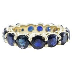 7 Carat Sapphire Ring, Blue Sapphire Eternity Band, 14 Karat Yellow Gold Band