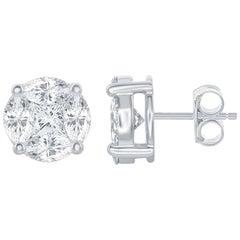 7 Carat Stud Diamond Earrings 18 Karat