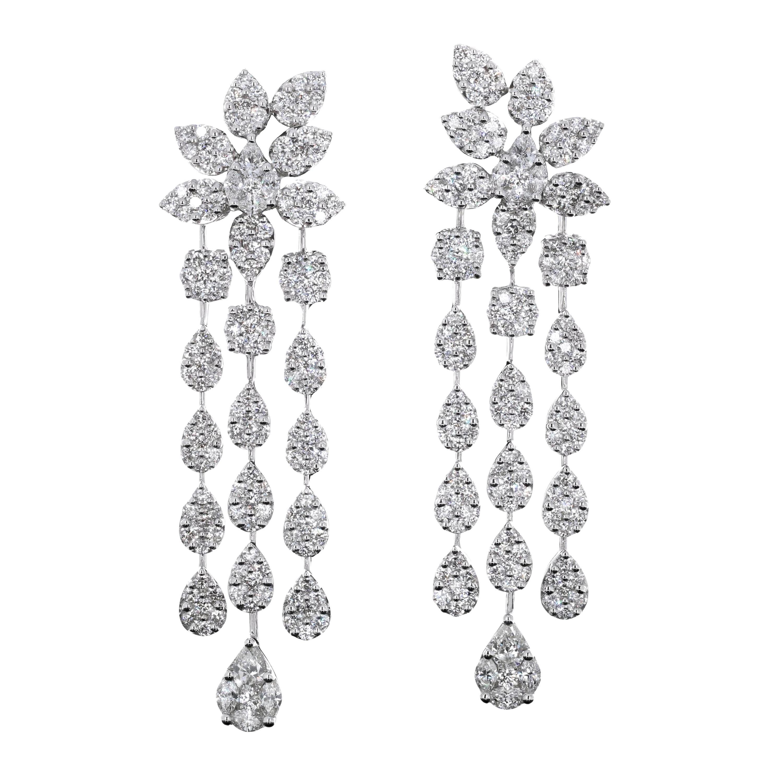 7 Carat Total Weight Diamond Dangling Chandelier Earrings
