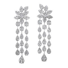 7 Carat Total Weight Diamond Dangling Chandelier Earrings