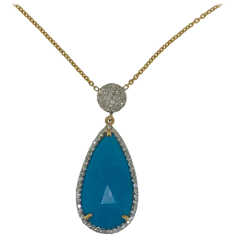 7 Carat Turquoise Pear Shape and .50 Carat Diamond Necklace in 18 Karat
