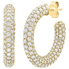 7 Carat Tw Diamond Pave Hoop Earrings, Gold, Ben Dannie