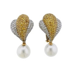 7 Carat White Yellow Diamond South Sea Pearl Gold Cocktail Earrings