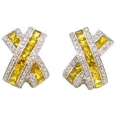 7 Carat Yellow Sapphires Diamonds White Gold Modern X Shape Earrings