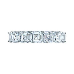 7 Carats Asscher Cut Eternity Platinum Eternity Band
