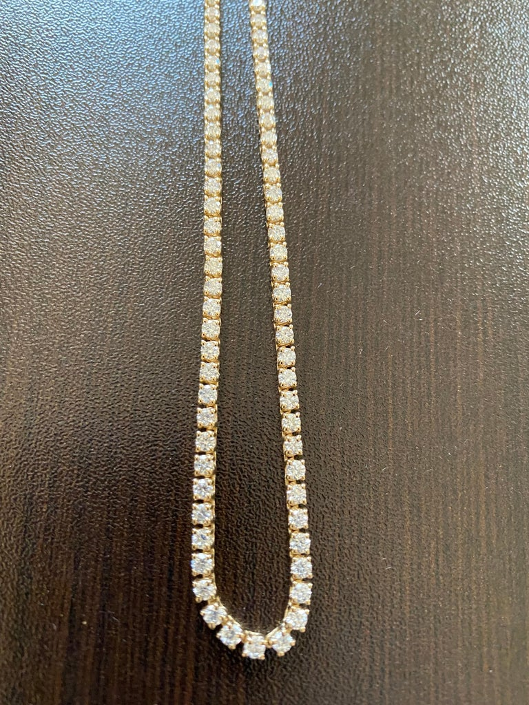 Round Cut 7 Carats Yellow Gold Tennis Necklace For Sale