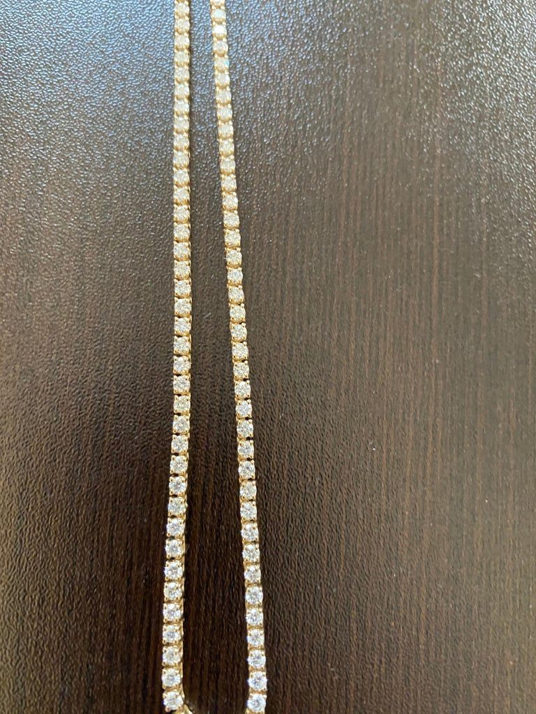 7 Carats Yellow Gold Tennis Necklace In New Condition For Sale In Great Neck, NY