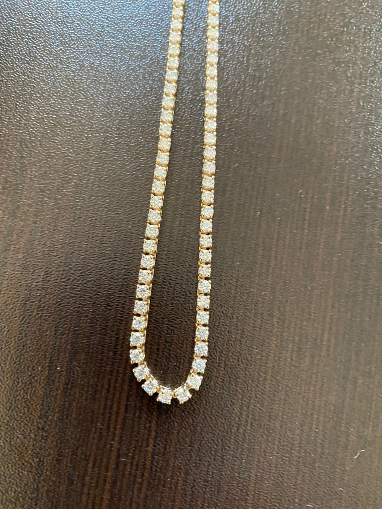 Women's 7 Carats Yellow Gold Tennis Necklace For Sale