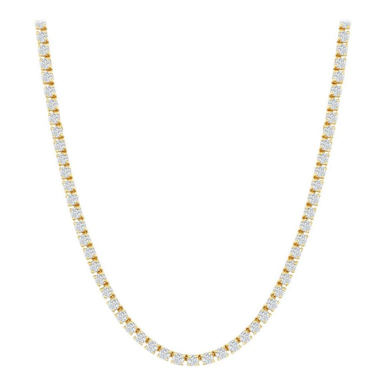7 Carats Yellow Gold Tennis Necklace For Sale