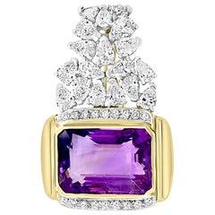 7 Carat Diamonds and 25 Carat Amethyst Enhancer / Pendant 18 Karat Two-Tone Gold