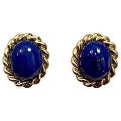 7 Ct Natural Lapis Lazuli Set 18 Karat Yellow Gold Stud Earring +Omega Back