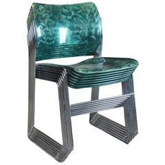 7 David Rowland 40/4 Demi Glaze Stacking Office Dining Chairs MCM, 1997