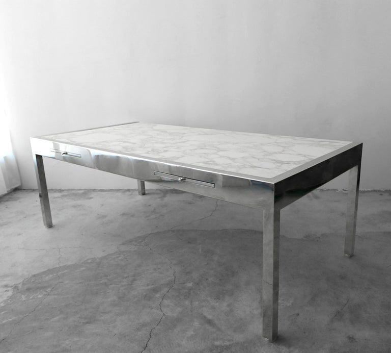 Massive 7 foot modernist desk by Leon Rosen for Pace. I have never seen this combination 