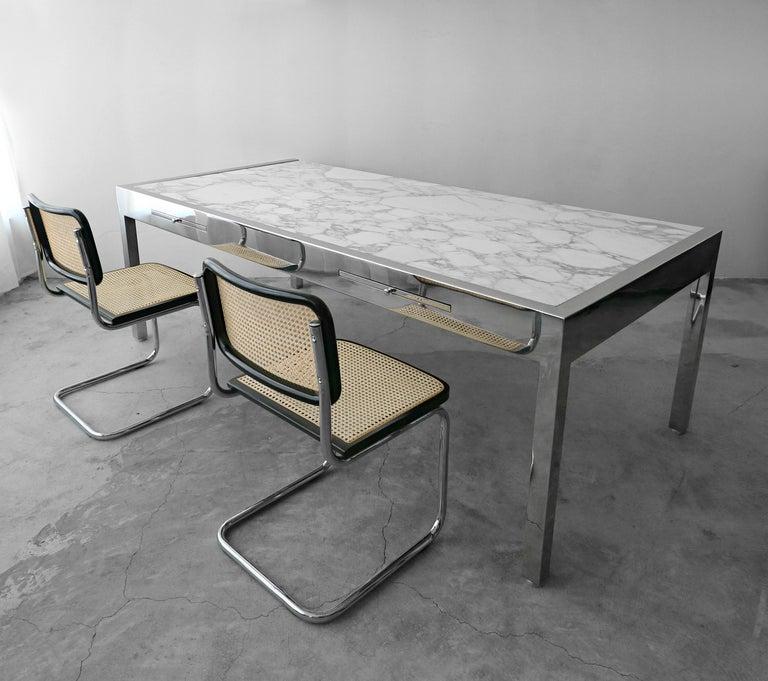Modern 7 Foot Marble and Polished Stainless Steel Executive Desk by Leon Rosen for Pace For Sale