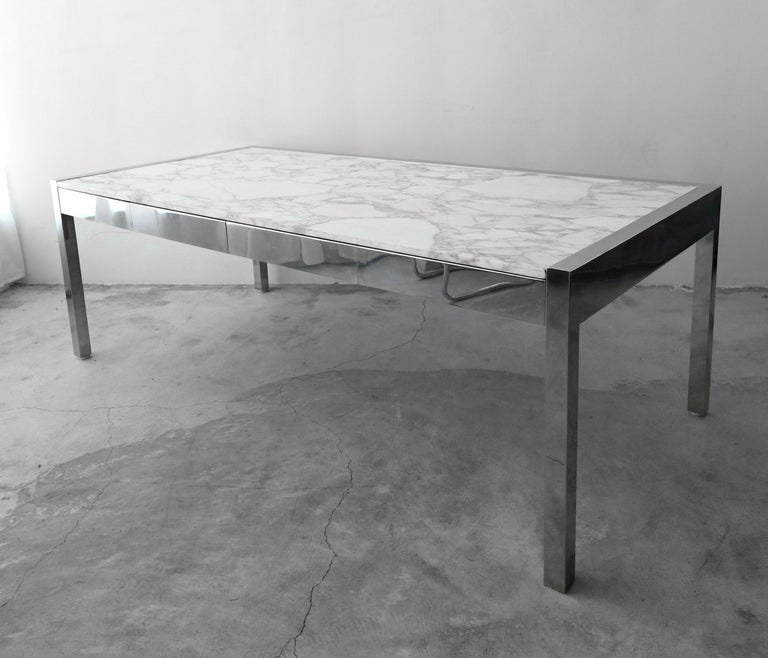 7 Foot Marble and Polished Stainless Steel Executive Desk by Leon Rosen for Pace In Good Condition For Sale In Las Vegas, NV