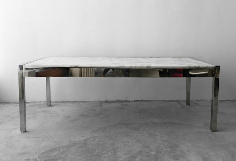 20th Century 7 Foot Marble and Polished Stainless Steel Executive Desk by Leon Rosen for Pace For Sale
