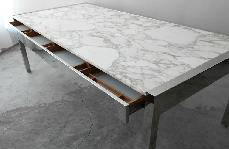 7 Foot Marble and Polished Stainless Steel Executive Desk by Leon Rosen for Pace For Sale 1